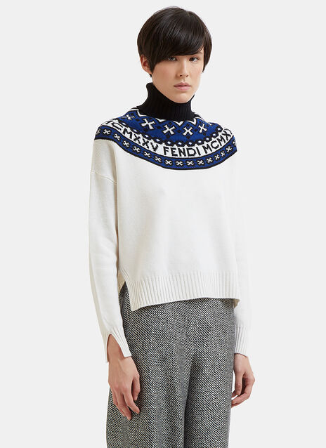 Numeral & Fair Isle Roll Neck Knit Sweater