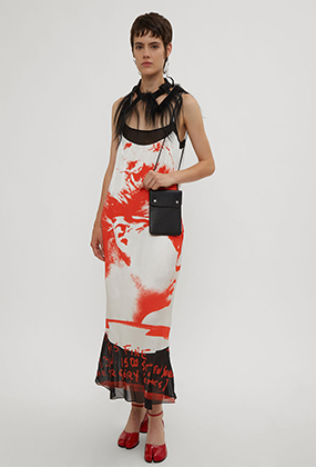 Mugshot Print Slip Dress