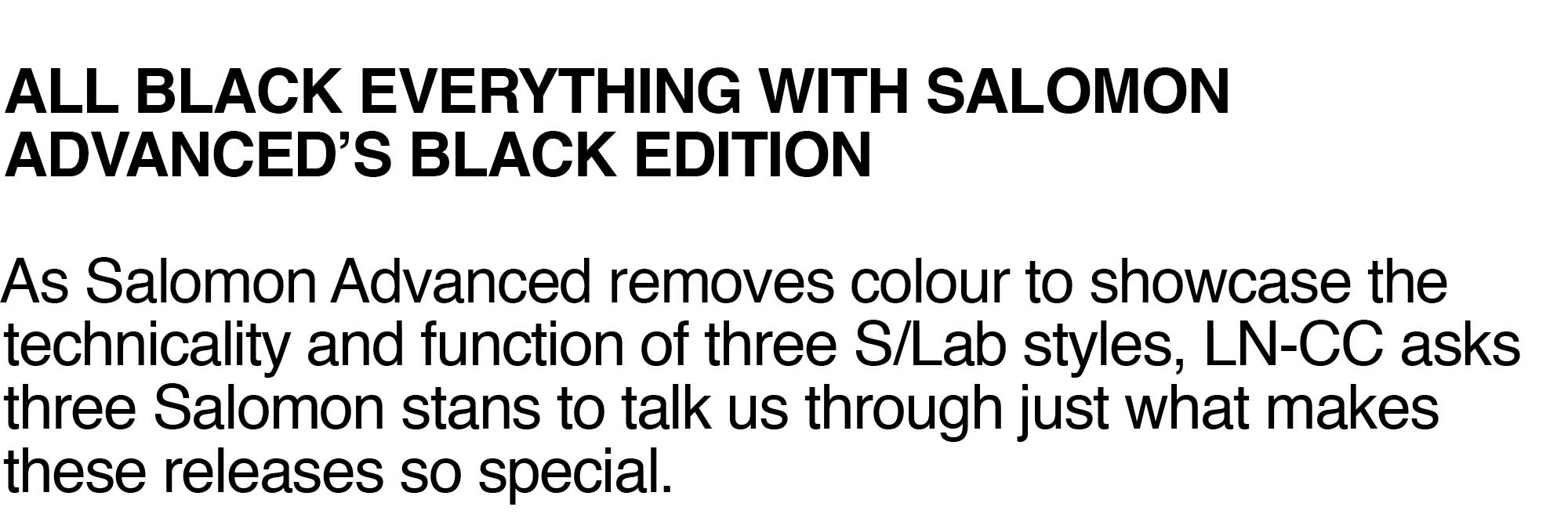 Salomon Advanced Black Edition