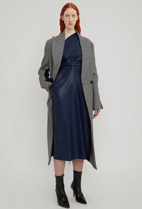 Asymmetric Sleeve Dress in Navy