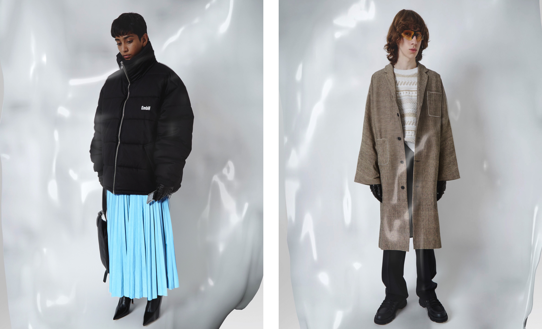 LN-CC AW18 Editorial GmbH Black Puffer Coat blue pleated Masion Margiela Skir Black gloves and techology screens
