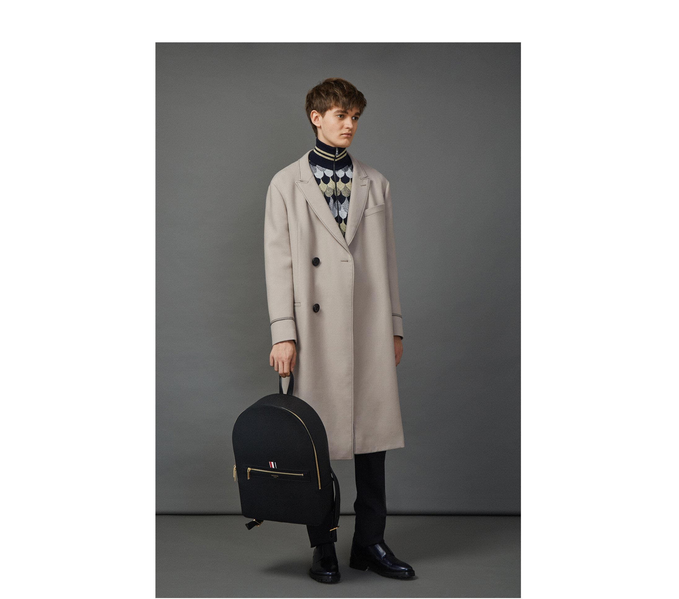 9fd88fded23 LANVIN DOUBVLE BREASTED COAT worn with THOM BROWNE BACKPACK