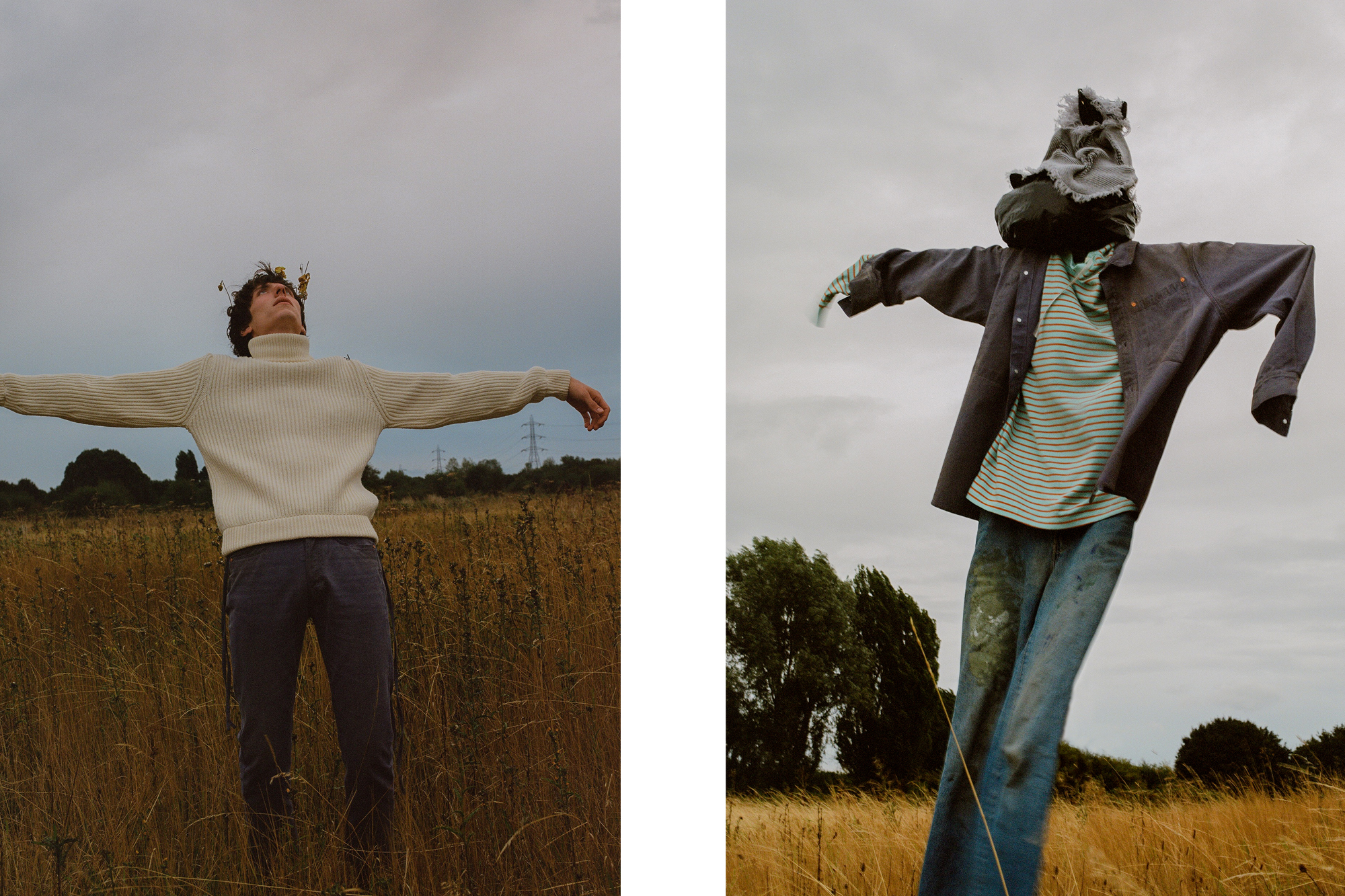 Boy Wearing Vyner Articles Scarecrow